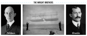 The Wright Brothers; Wilbur and Orville portraits; Wright Brothers with plane
