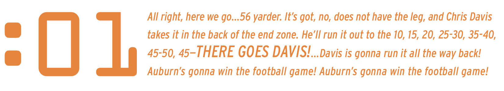 :01 All right, here we go…56 yarder. It's got, no, does not have the leg, and Chris Davis takes it in the back of the end zone. He'll run it out to the 10, 15, 20, 25-30, 35-40, 45-50, 45—THERE GOES DAVIS!...Davis is gonna run it all the way back! Auburn's gonna win the football game! Auburn's gonna win the football game!