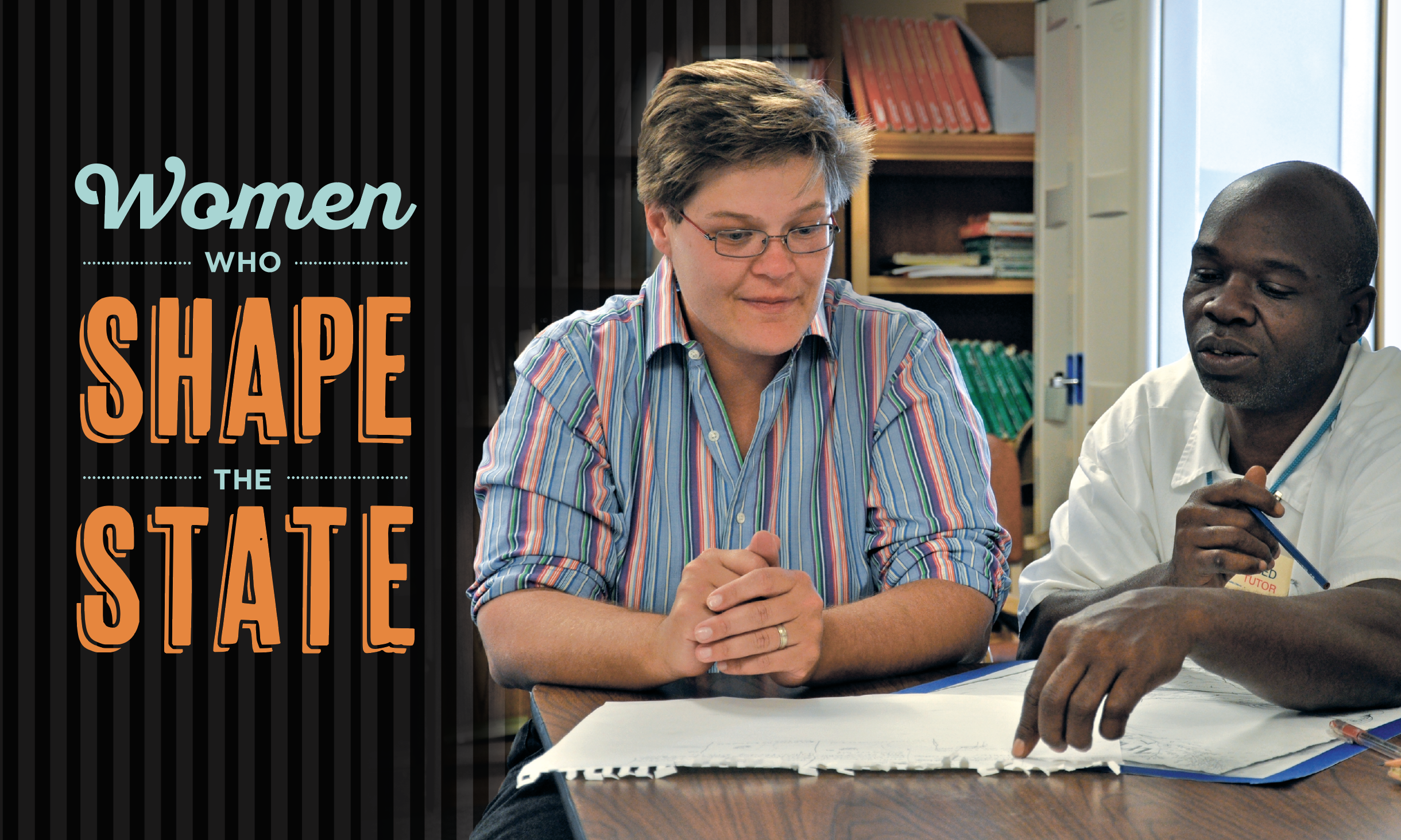 Women Who Shape the State; photo of Kyes Stevens '94 and student