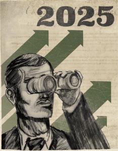 "Illustration of man with binoculars; ""2025"""