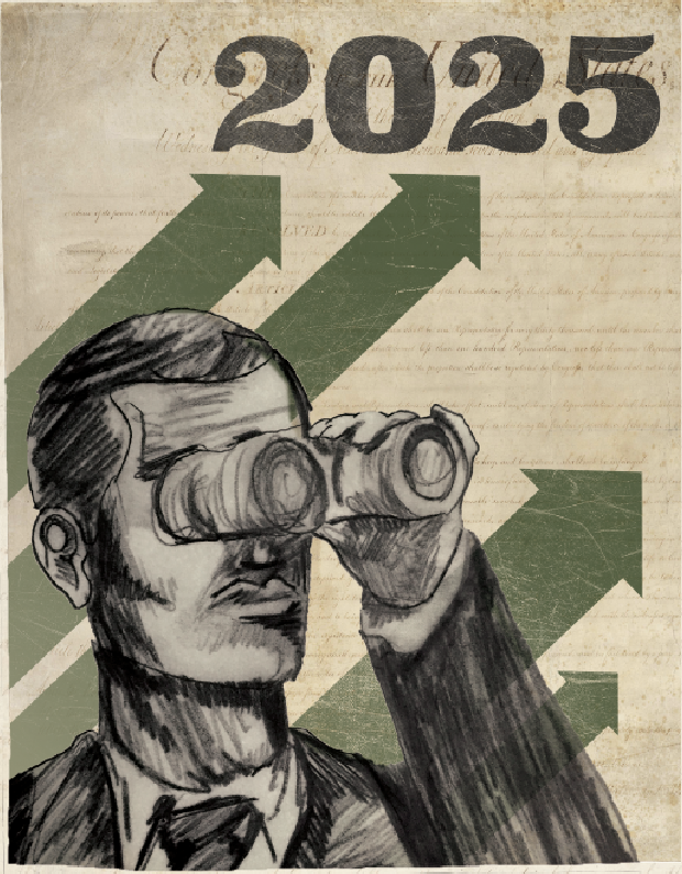 Illustration of man with binoculars;