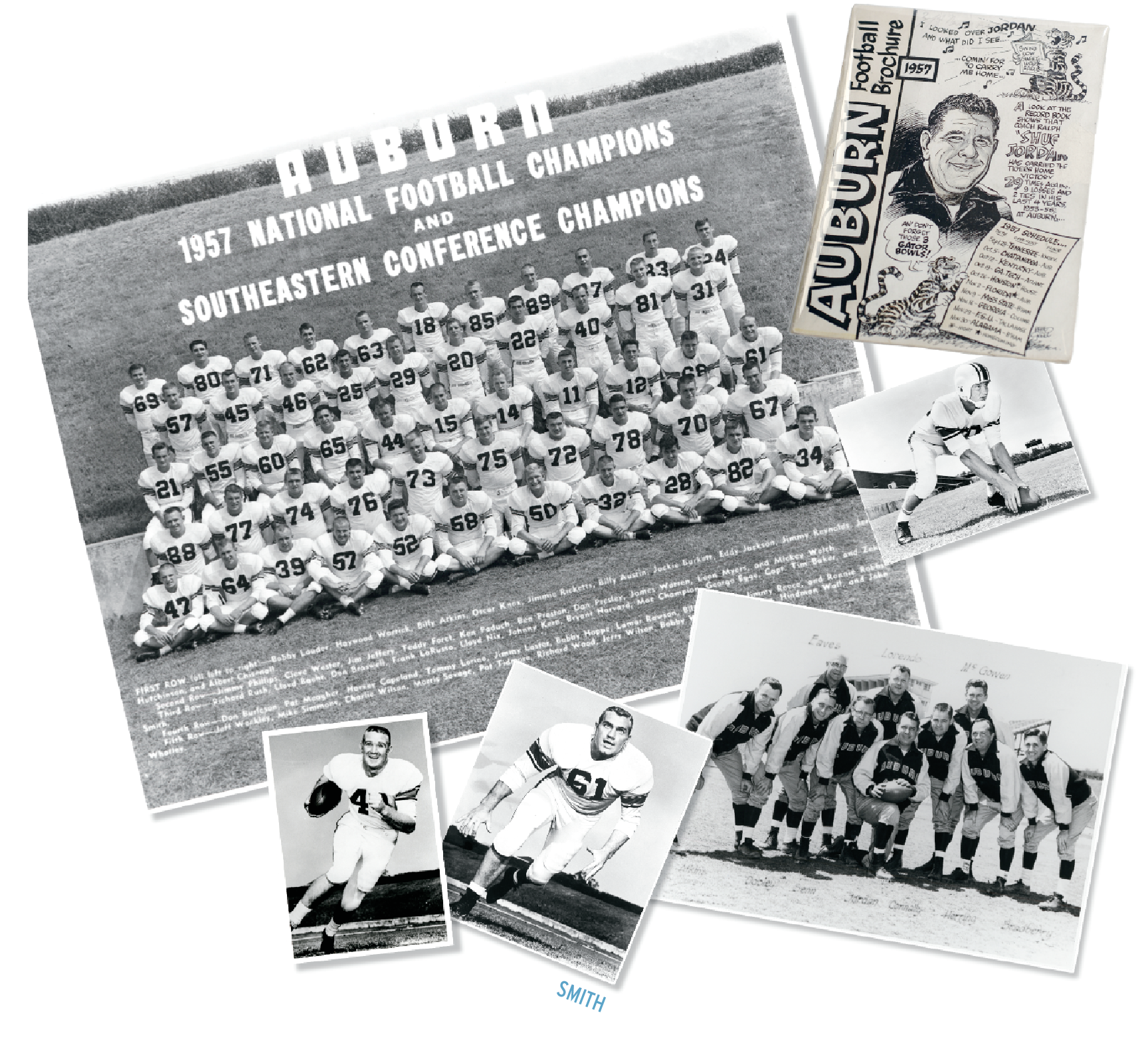 Photo collage of 1957 football team