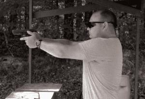 Tom Dowling '10 at shooting range