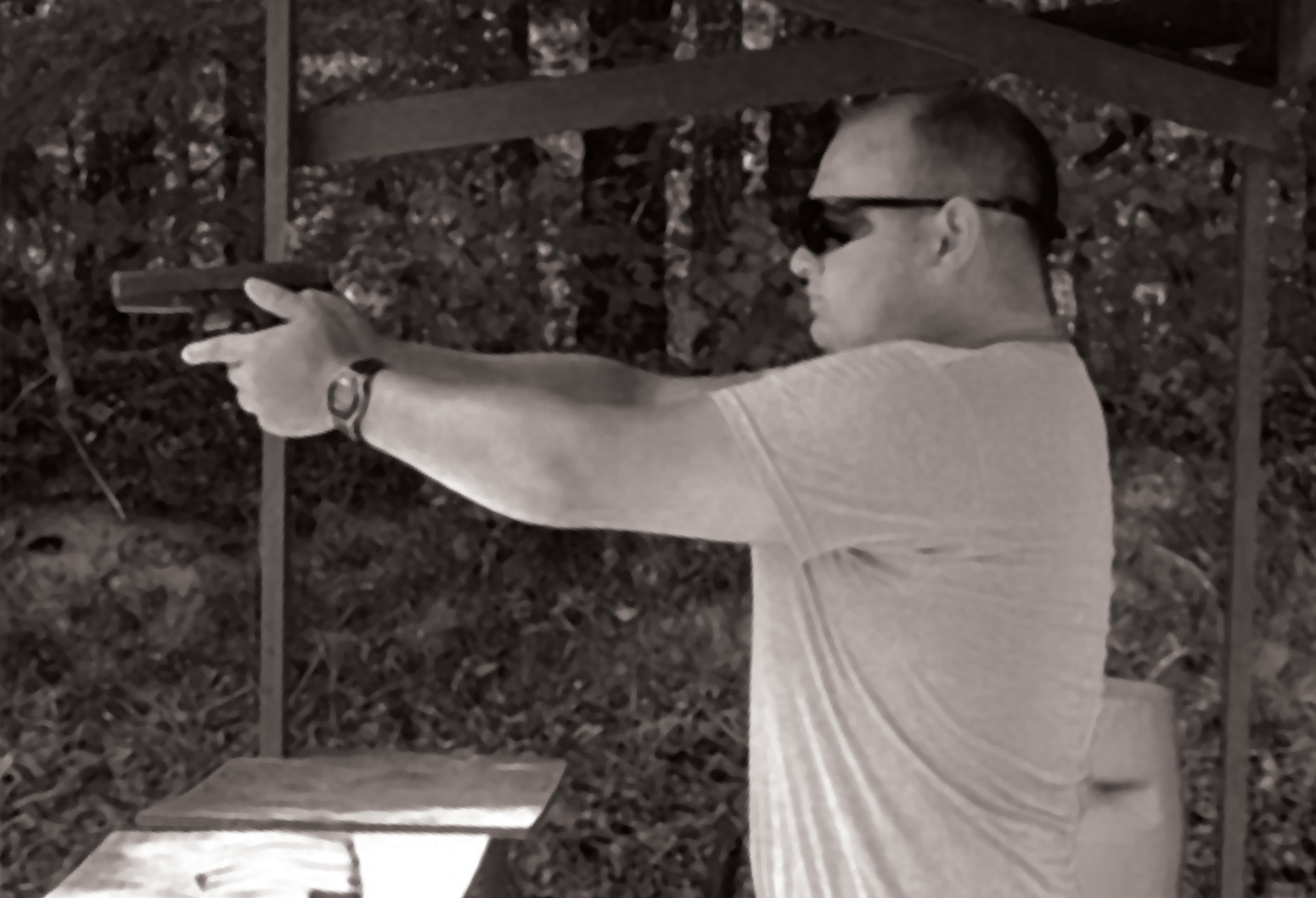 Tom Dowling '10 at shooting range