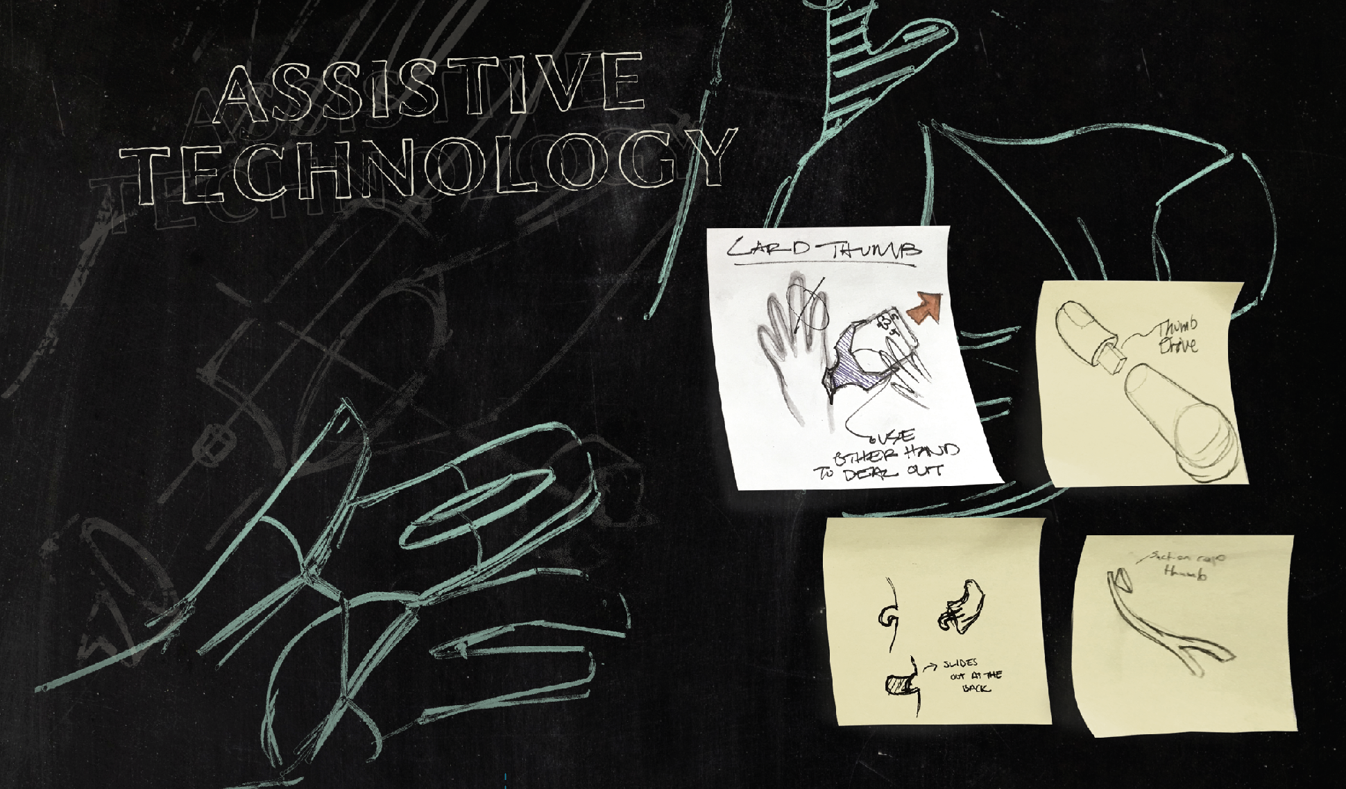 sketches and post-it notes of hand prosthetics