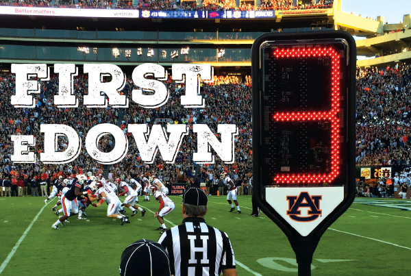 First EDown; Digital down sign during Auburn game
