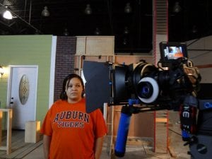 Robinson behind the scenes on one of her projects.