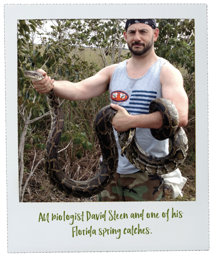 AU biologist David Steen and one of his Florida spring catches.