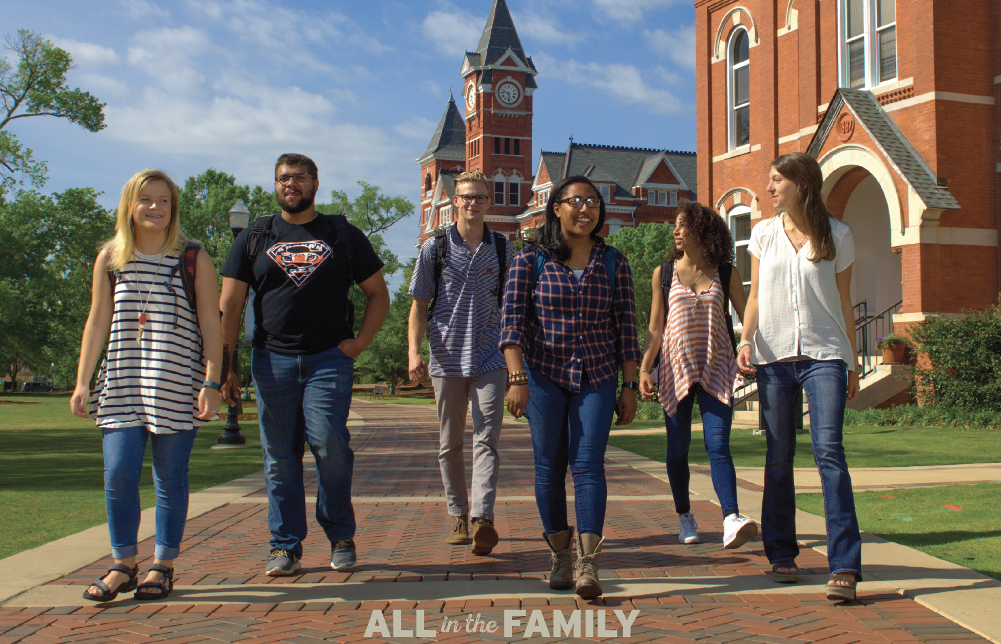 Students walking in front of Samford hall; All in the Family