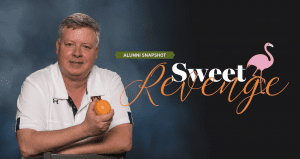 Sweet Revenge; Alumni Snapshot; Tim Dorsey holding an orange