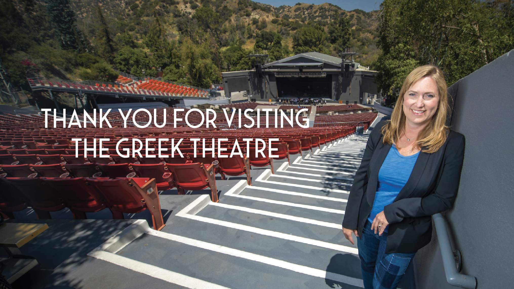 Becky Colwell in The Greek Theatre; Thank you for visiting the Greek Theatre