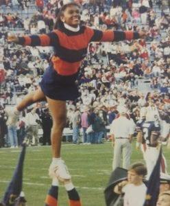 Hillman up in the air at an Auburn football game.