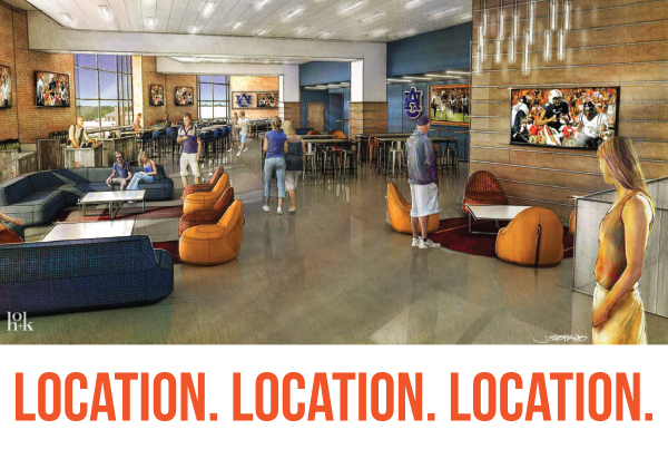 Rendering of the Tiger Walk Club space; Location. Location. Location.
