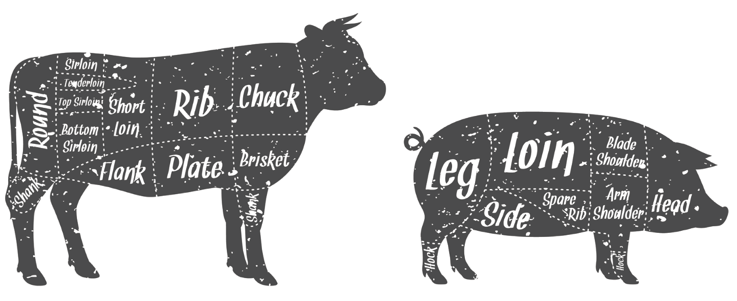 Cow and pig barbeque cuts
