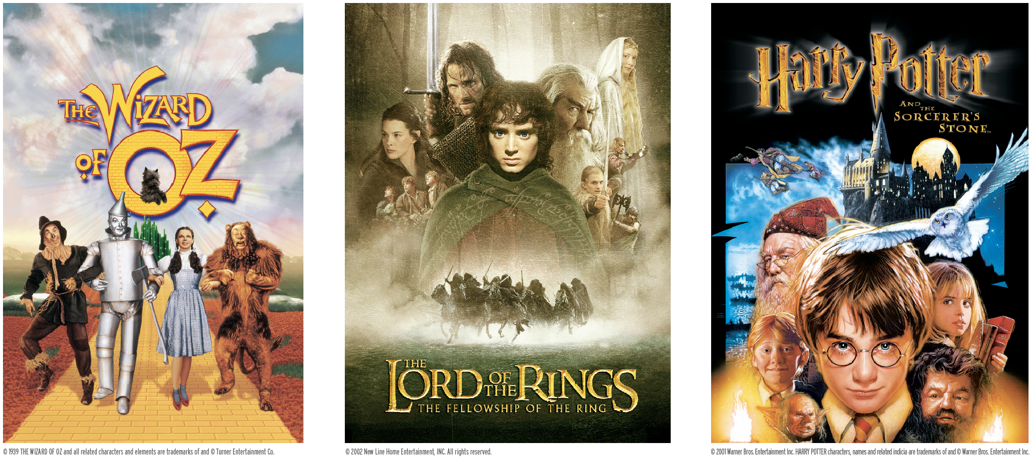 Movie posters for The Wizard of Oz, The Lord of the Rings The Fellowship of the Ring, and Harry Potter and the Sorcerer's Stone