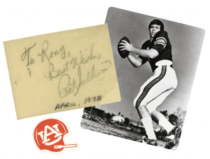 """Pat Sullivan photo and note that says """"To Rory, Best Wishes Pat Sullivan April,1972"""