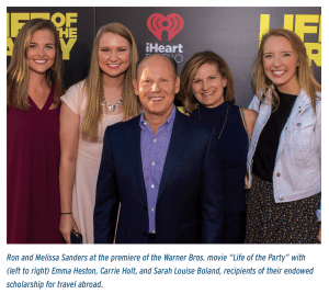 """Ron and Melissa Sanders at the premiere of the Warner Bros. movie """"Life of the Party"""" with (left to right) Emma Heston, Carrie Holt, and Sarah Louise Boland, recipients of their endowed scholarship for travel abroad."""