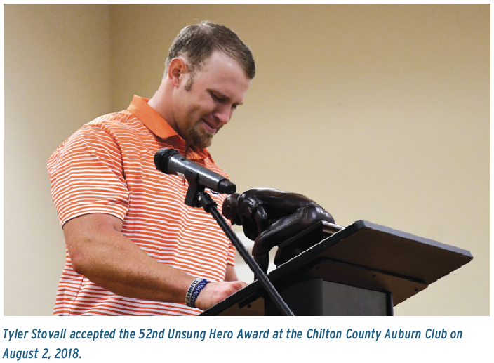 Tyler Stovall accepted the 52nd Unsung Hero Award at the Chilton County Auburn Club on August 2, 2018.