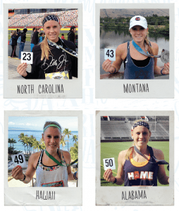 Ashley Ahner after her races in North Carolina, Montana, Hawaii, and Alabama