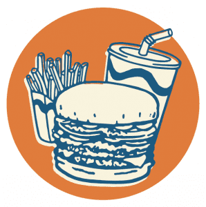Burger, fries, and drink illustration
