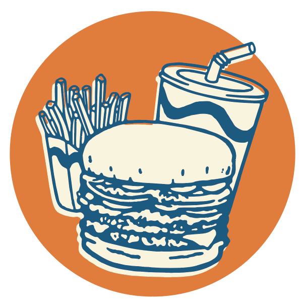 Burger, fries, and drink illustration