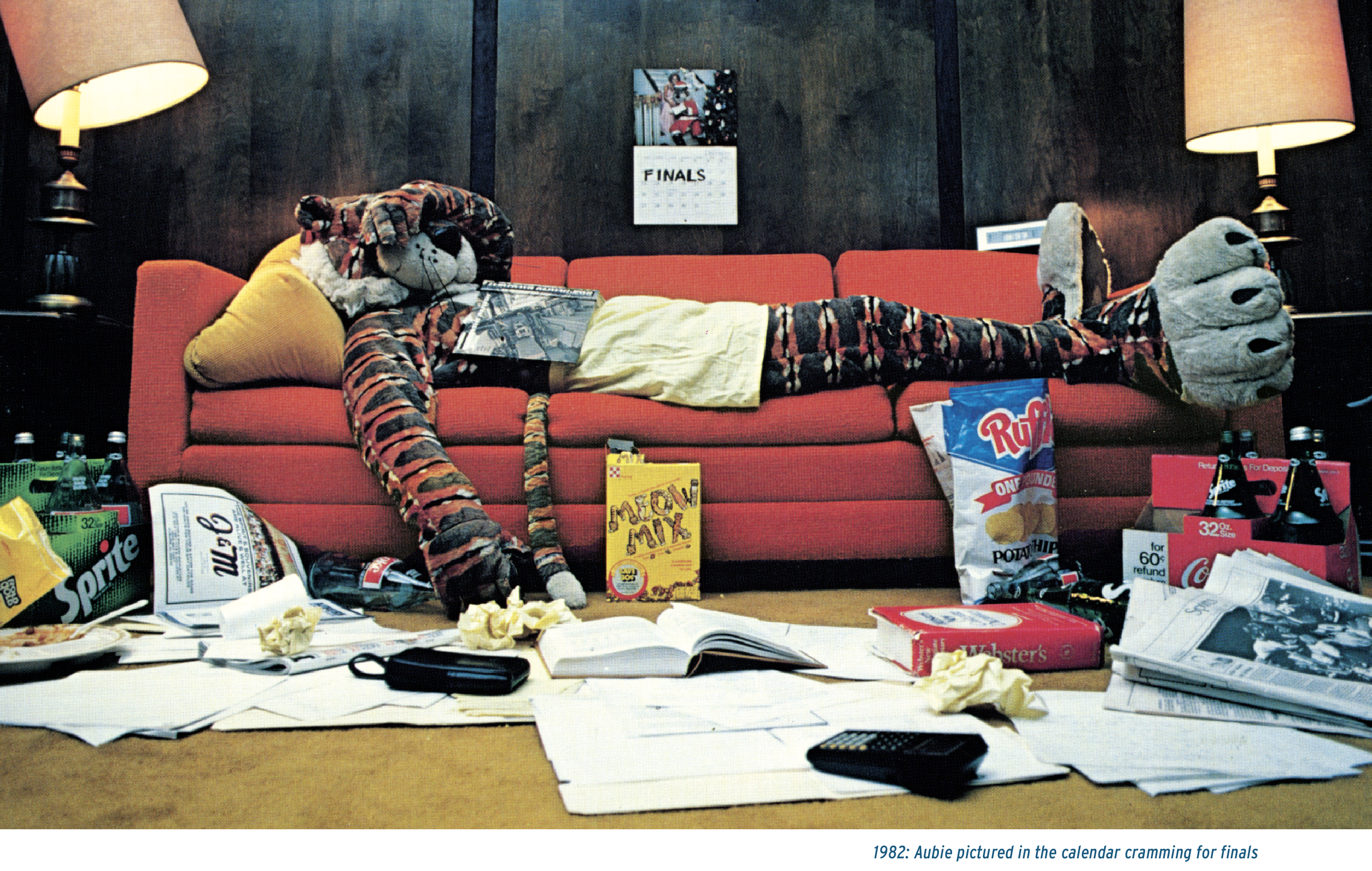 1982: Aubie pictured in the calendar cramming for finals