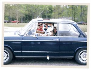 David Sharp and Aubie in the BMW
