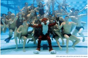 2004: Aubie takes a dip with the swim team for the calendar