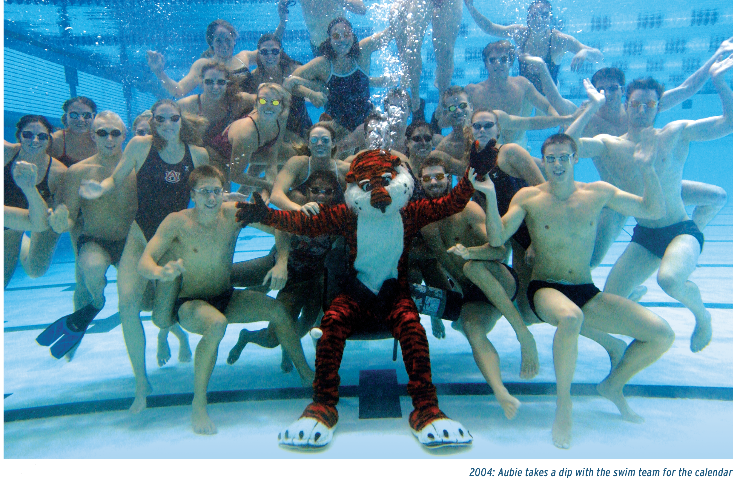 2004: Aubie takes a dip with the swim team for the calendar