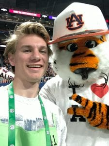 Padgett smiles in a selfie with Aubie at the 2018 SEC Championship game.