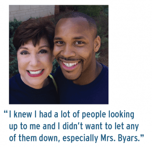 """Emily Byars and Kendall Johnson; """"I knew I had a lot of people looking up to me and I didn't want to let any of them down, especially Mrs. Byars."""""""