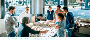 Director of Urban Studio Alex Krumdieck '86 (second from left) working with students in Birmingham, Alabama