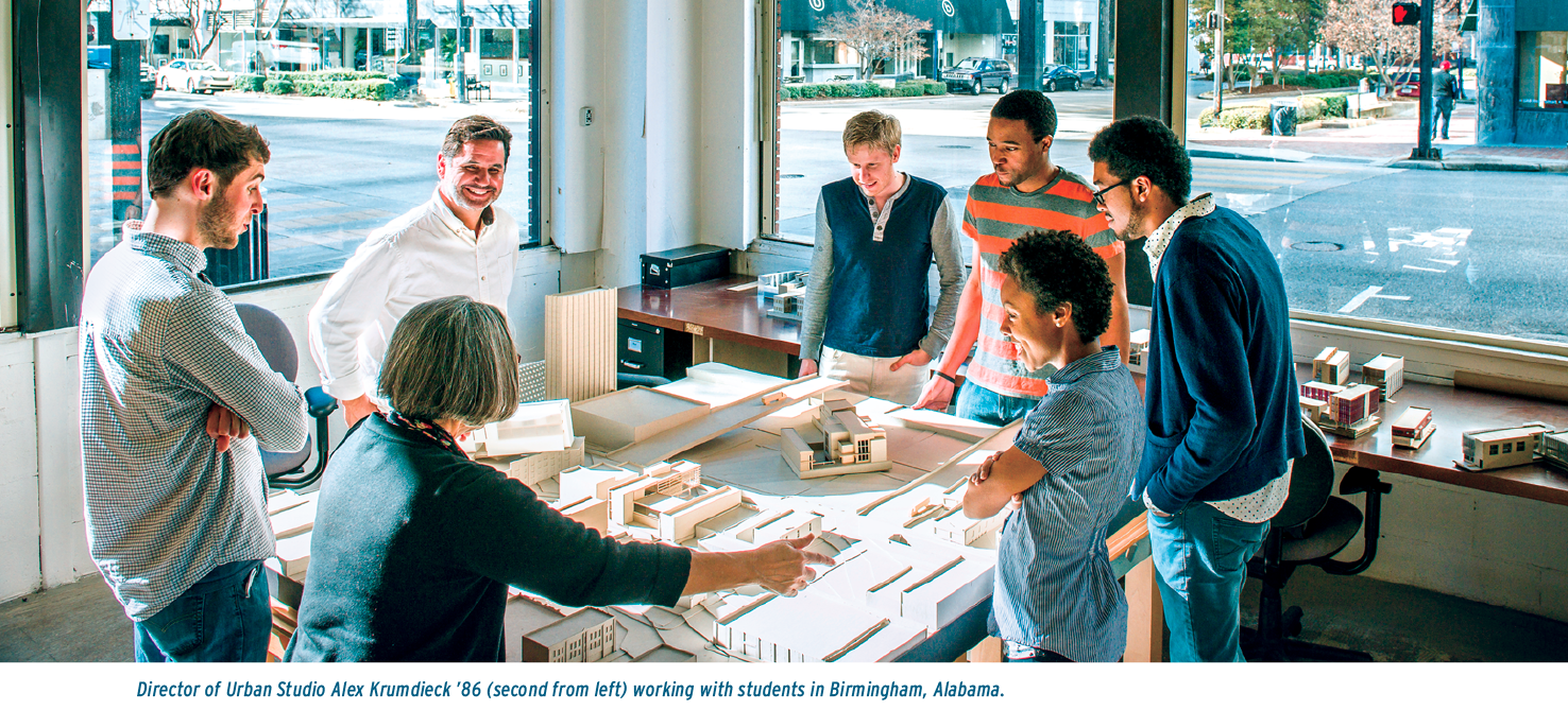 Director of Urban Studio Alex Krumdieck '86 (second from left) working with students in Birmingham, Alabama