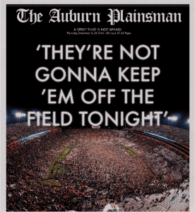 'They're not gonna keep 'em off the field tonight' Issue of The Auburn Plainsman