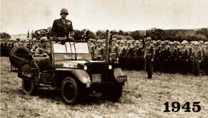 "General Patton riding a ""War Eagle"" Jeep"