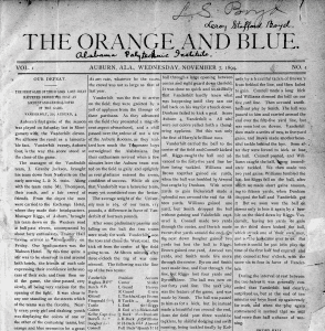 Front page of The Orange and Blue