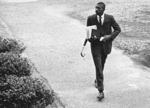 Harold Franklin walking to class