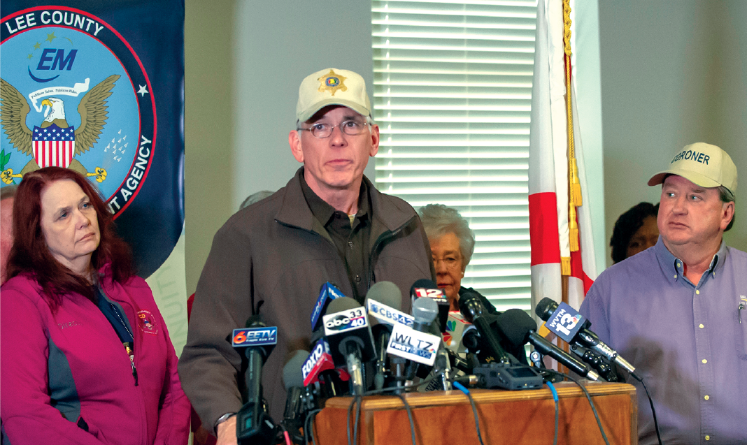 Sheriff Jones speaking at a nationally-televised press conference