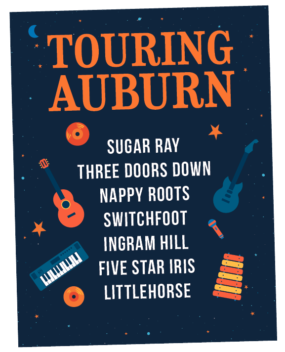 Touring Auburn, Sugar Ray, Three Doors Down, Nappy Roots, Switchfoot, Ingram Hill, Five Star Iris, Littlehorse