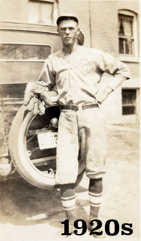 1920s baseball player in front of old car