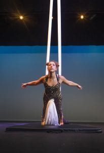 Anne Nelson working on aerial acrobatics