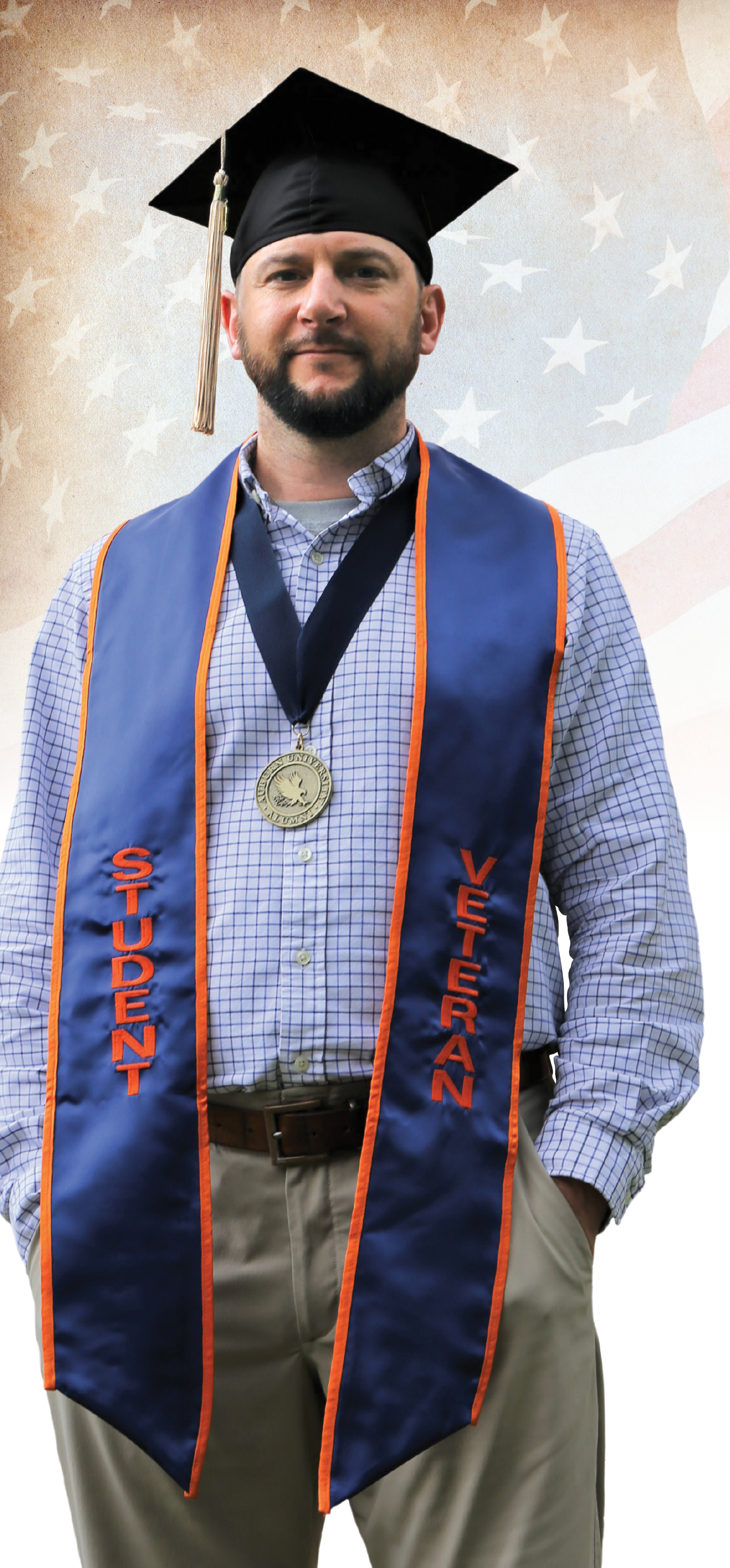 Kyle Venable in Student Veteran stole