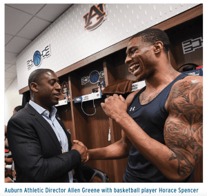 Auburn Athletic Director Allen Greene with basketball player Horace Spencer
