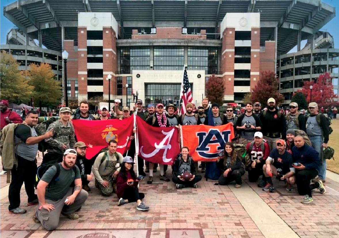 Student veterans from Auburn and Alabama outside Bryant-Denny Stadium before delivering the game ball on the field to end the first Operation Iron Ruck.