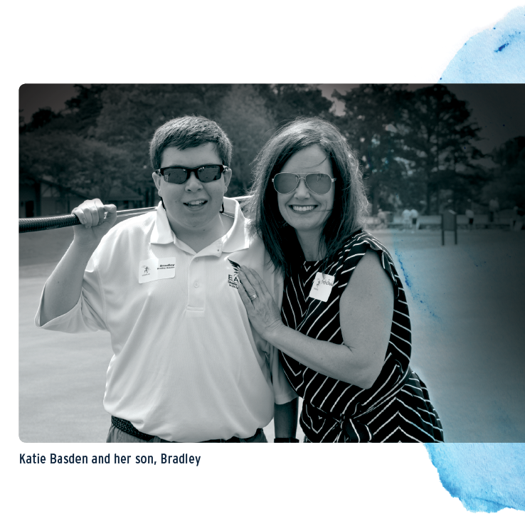 Katie Basden and her son, Bradley on the golf course