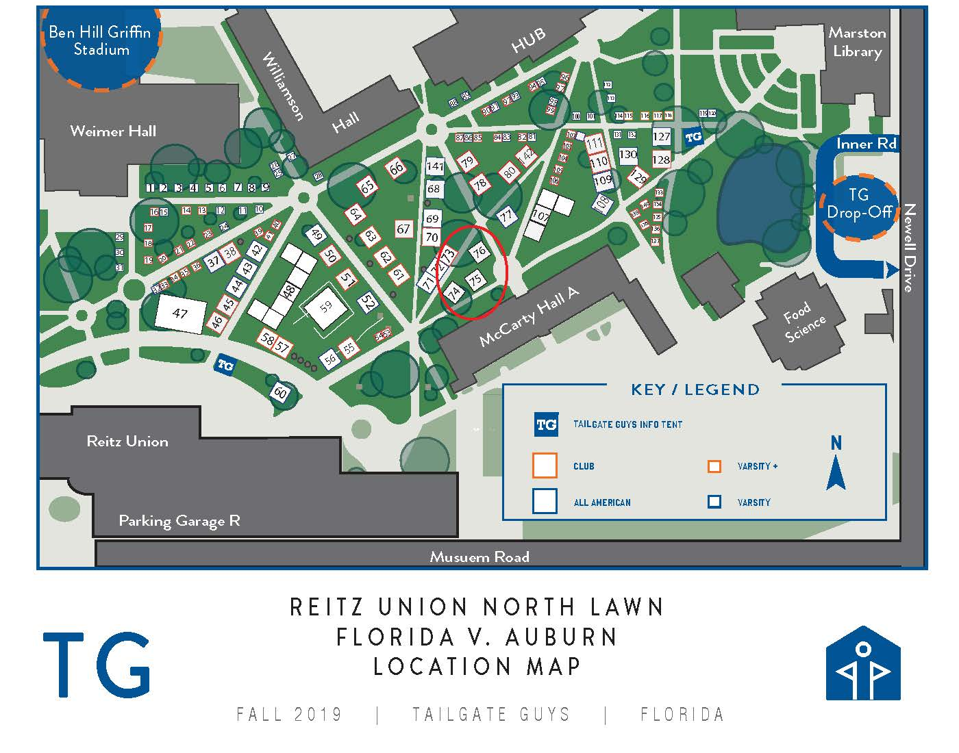 Alumni Tailgate at Florida - map