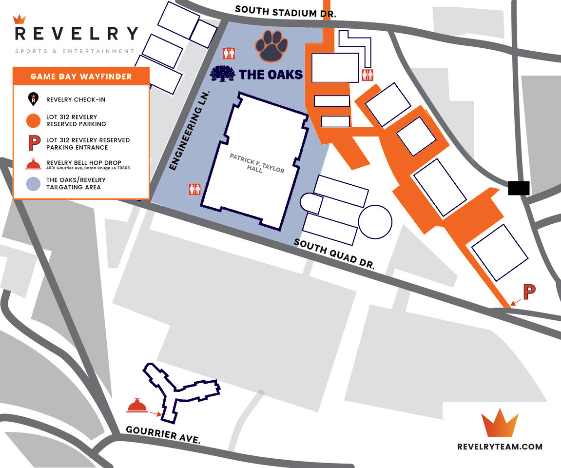 Auburn Hospitality Tailgate at LSU Map
