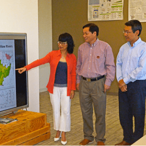 """Auburn University Professors Shufen """"Susan"""" Pan, Hanqin Tian and Ruiqing Miao, along with fellow researchers in China"""
