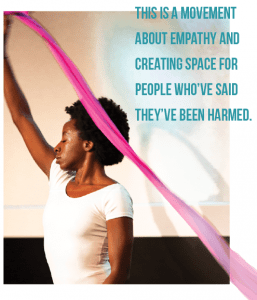 """Scene from a dance performance from the 2018 Chicago Town Hall, cohosted by A Long Walk Home and Tarana Burke.; """"This is a movement about empathy and creating space for people who've said they've been harmed."""""""