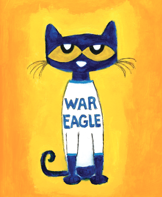 Pete the Cat wearing a War Eagle sweater